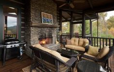 Blue Sky Cabin Rentals - Cavender Overlook - Suches GA    May have to look into renting this one ....what a great outdoor living area....