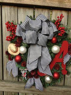 Alabama Christmas Wreath Roll Tide with Saban by DreamCharmDesigns, $145.00