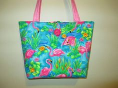 Quilted Flamingo Purse/Tote by CutePurseNalities on Etsy, $31.00