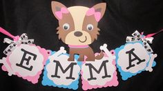 Puppy Party Name Banner. $15.00, via Etsy.