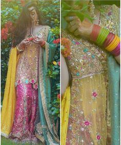 Dp by shao Pakistani Mehndi Dress, Bridal Mehndi Dresses, Desi Wedding Dresses, Pakistani Wedding Outfits, Pakistani Bridal Dresses, Wedding Wear, Indian Outfits, Mehendi, Mayon Dresses