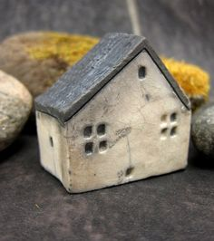 Rustic WHITE Cottage...Raku Fired Miniature House. €18.00, via Etsy.