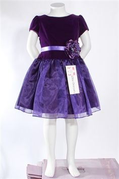 Purple Flower Girl Dress with Organza Overlay Skirt