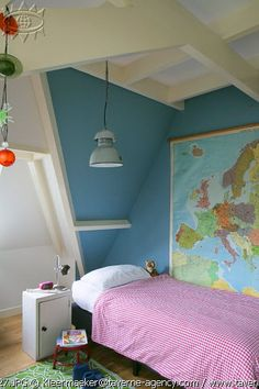 boys room Jesse's room with map. Blue grey