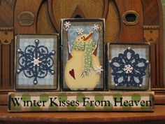 Winter Sign - Winter Kisses From Heaven Christmas and Winter Decor Sign Word Blocks