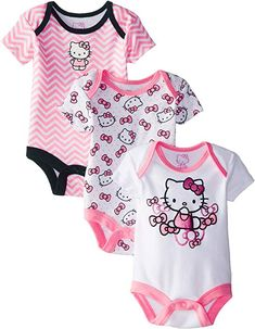 Amazon.com  Hello Kitty Baby Baby-Girls Newborn 3 Pack Bodysuits with Bows 22efc866ef1d3