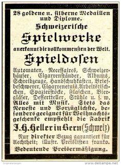 Original-Werbung/ Anzeige 1897 - SCHWEIZER SPIELWERKE / SPIELDOSEN / HELLER BERN…