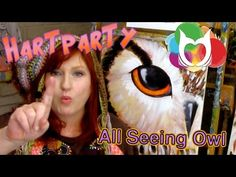 ▶ All Seeing Owl Painting Lesson Step by step beginner Halloween Hart Party Art Tutorial - YouTube
