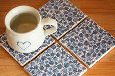 Ceramic coasters – blue floral print tile coasters – set of 4
