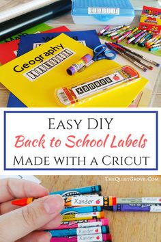 Simple DIY Back to School labels made with a Cricut, . - Simple DIY back to school labels made with a cricut, - School Supply Labels, School Labels, School Supplies Highschool, Back To School Supplies, Make Your Own Labels, Diy Back To School, Pre School, School Projects, School Ideas
