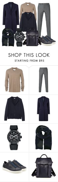 """""""Man daily look, dkblue coat and cardigan, beige top and grey pants"""" by gillianyoun on Polyvore featuring Maison Margiela, MANGO MAN, Cinzia Rocca, TAG Heuer, Valentino, Dolce&Gabbana, Giorgio Armani, men's fashion and menswear"""
