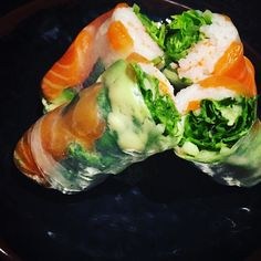 A great healthy meal idea!! Sashimi salmon spring rolls! Add in some lettuce avocado shredded carrots and cucumbers for a healthy and delicious meal. #healthychoices #weightloss #healthyeating #healthy #healthyfood #healthylivingjunkie #healthyfoodporn #healthylife #foodporn