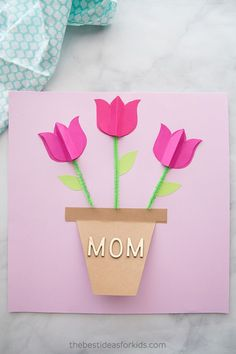Make Mom feel special this holiday with one of these DIY Mother's Day cards. These homemade cards are thoughtful, personal, and totally creative. Mothers Day Cards Homemade, Mothers Day Card Kids, Homemade Cards, Happy Mothers Day, Diy Crafts For Kids Easy, Crafts To Make, Kids Crafts, Happy Mother's Day Card, Paper Butterflies