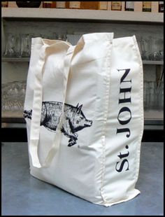 St. JOHN Restaurant tote - big fan of the tote which we can market as something of a fashion accessory - look up St. John - very famous London restaurant https://www.stjohngroup.uk.com/