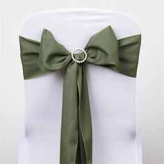 Willow Green Polyester Sash | eFavorMart /  Plan as many events as you want and invite as many guest as you desire without even worrying about the expenses and your budget. With our sturdy and economical polyester chair sashes, you can now transform any dining experience into a magnificent feast with an upscale feel and an elite look without breaking the banks. Get inspired by our premium quality polyester chair sashes that open the gates of creativity and ingenuity. With such a high…