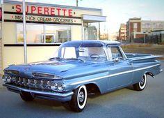 Old School El camino 1959 Chevy Trucks, Pickup Trucks, Gm Trucks, Cool Trucks, Cool Cars, Perspective Forcée, Classic Trucks, Classic Cars, 1959 Chevy Impala