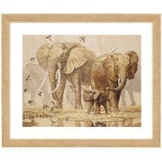 African Elephants and Namaqua Doves - Cross Stitch