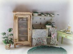 Dollhouse miniature Kitchen Distressed Larder Cupboard Pie safe. €25.50, via Etsy.