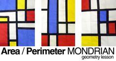 Piet Mondrian geometry lesson (calculating area and perimeter) Math Art, Fun Math, Math Activities, Geometry Lessons, Math Lessons, Math Projects, Math Crafts, Area And Perimeter, Math Measurement