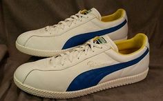 Vintage Mens PUMA White Blue Leather Pele Soccer Futbol Retro Shoes Sneakers  13 79d28ee71