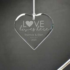 Laser engraved glass ornament perfect for the happy couple Personalized Housewarming Gifts, Personalized Ornaments, Unique Gifts For Couples, Couple Gifts, First Anniversary, Anniversary Gifts, Memorial Ornaments, Heart Ornament, Glass Ornaments