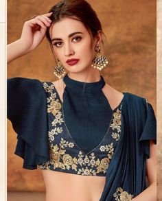 Grey and blue lehenga saree with designer blouse and cutwork floral border Choli Blouse Design, Choli Designs, Blouse Neck Designs, Cutwork Blouse Designs, Stylish Blouse Design, Fancy Blouse Designs, Blouse Designs Catalogue, Outfit Invierno, Sleeves Designs For Dresses