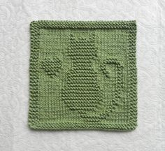 CAT / KITTEN / HEART Knit Dishcloth. Hand by AuntSusansCloset, $6.50