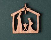 Laser Cut Natural Wood Christmas Ornament - Small Nativity