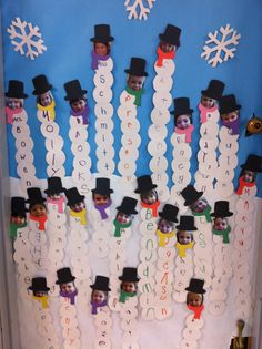 Classroom door for January close-up