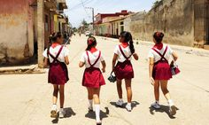 School girls wearing school uniforms on the way home on June 2009 in Trinidad, Cuba. - 50 Captivating Photos Of Girls Going To School Around The World Around The World Theme, Schools Around The World, People Around The World, Around The Worlds, Walk To School, High School, Right To Education, Girl Scouts, Toddler Girls