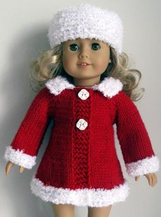 "18"" AG American Girl DOLL clothes Mad Men coat & hat set hand KNITTING PATTERN"