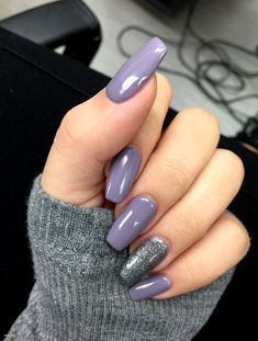 Most Gorgeous And Eye-catching Acrylic And Matte Nails Ideas For Prom ✨ - Nail Design 20 , ! ✨ ✨ Everythings about best chosen acrylic nails and matte nails idea for you! Mauve Nail Polish, Grey Matte Nails, Mauve Nails, Pink Acrylic Nails, Glitter Acrylics, Nail Polish Colors, Purple Acrylic Nails, Gray Nail Art, Purple Nails With Glitter
