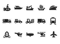 Vector Transportation Icon Set on Gray