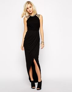 River Island Strappy Drape Maxi Dress With Neck Embellishment