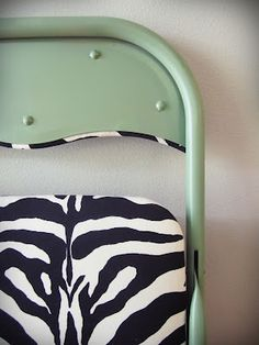 Take a gross boring folding chair and make it fab with spray paint and some fabric. Tutorial at smartgirlstyle: folding chair makeover