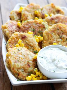Corn and Bacon Fritters with Garlic-Dill Crema