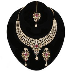 Pretty Floral Design CZ White Multicolor Collar Choker Necklace set with Maangtikka Necklace Set, Gold Necklace, Indian Necklace, Emerald Diamond, Modern Jewelry, Stones And Crystals, Clear Crystal, Earring Set, Dangle Earrings