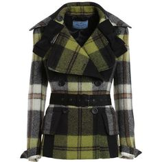 Checked coat with bows ($2,685) ❤ liked on Polyvore featuring outerwear, coats, jackets and bow coat