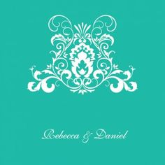 Grand Caress Square Vertical Invitation in Teal - DreamDay Wedding Invitations