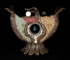 "Inner Glow (side B)  Ceramic with turquoise stone 14.5"" x 8"" x 12.5""H"