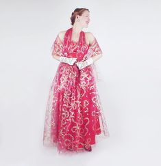 50s Emma Domb Red Gold & Silver Formal Long Gown by denisebrain