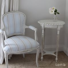 perfect fabric for slipcovering slipper chairs.  Starters' Guide: how to Antique Painted Furniture using Dark Wax