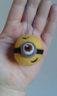 Needle Felted Minion Bauble, Christmas Bauble.