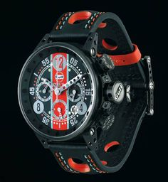 These cool watches are evocative of racing cars with their use of polished screws and bolts . BRM Gulf editions. A watch with motor racing heritage.