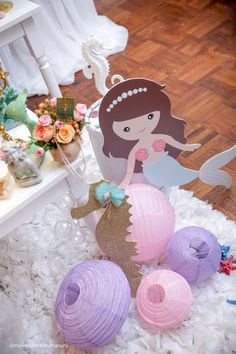 Paper lanterns from a Pastel Mermaid Birthday Party via Kara's Party Ideas | KarasPartyIdeas.com (41)