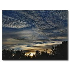 Sunrise With Cirrocumulus Floccus Clouds Postcard (Pkg of 8) by KJacksonPhotography -- Taken 08.30.2014 Sunrise with cirrocumulus floccus clouds enhancing the blues and yellows of the morning sky. At N. 4th St. boat landing in Old Town, Maine. PC:174.210 #photography #nature #clouds #maine #postcard #postcards