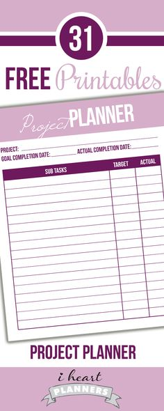 Welcome to Day 9 of the 31 days of free printables! Today's printable will help you break down major projects into subtasks and track their completion. Daily Planner Printable, Free Planner, Planner Pages, Date, Journal Organization, Project Planner, Planner Inserts, Planer, Free Printables