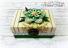 Quilling Paper Handmade Flower Jewelry Box by CadouriFistichii Jewelry Box, Flower Jewelry, Handmade Flowers, Quilling, Decoupage, Decorative Boxes, Diy Crafts, Paper, Baskets