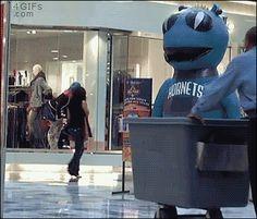 A mascot scares a man who retaliates