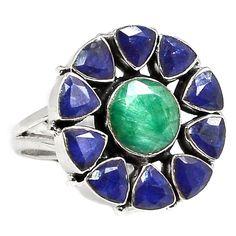 Emerald & Sapphire 925 Sterling Silver Ring Jewelry s.9 SR189352 | eBay